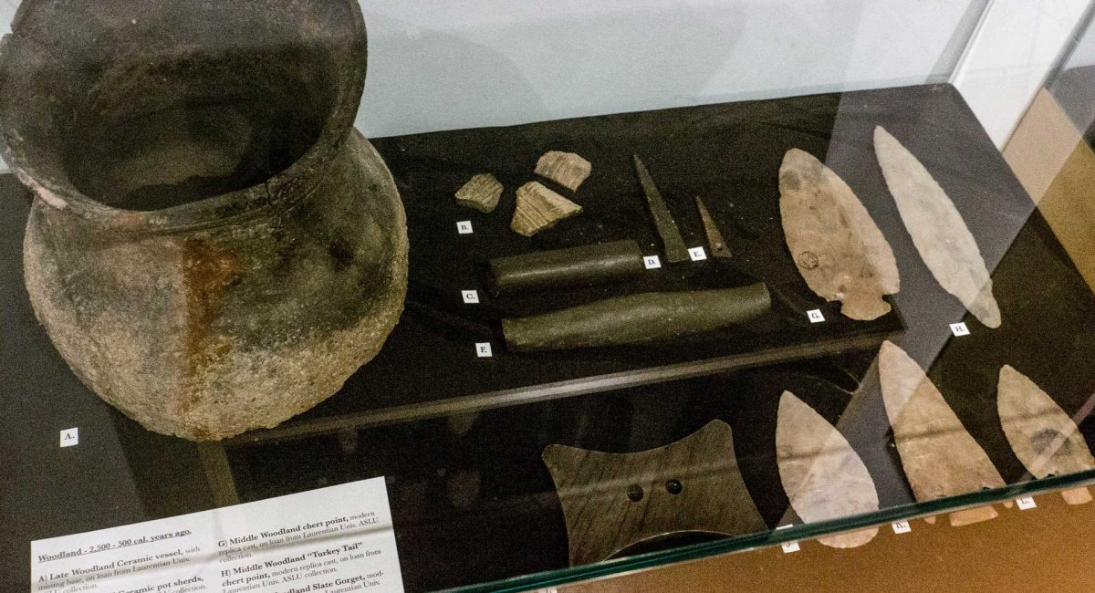 A display in the Centennial Museum of Sheguiandah's new interactive archaeological exhibit highlights the Middle and Late Woodland Periods, when clay was formed into pots and pipes and baked in outdoor kilns about 2,500 years ago. Photo by Isobel Harry